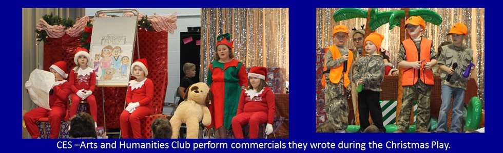 CES Arts and Humanities Club Students showing their acting skills in the North Pole Star. They wrote their skits.