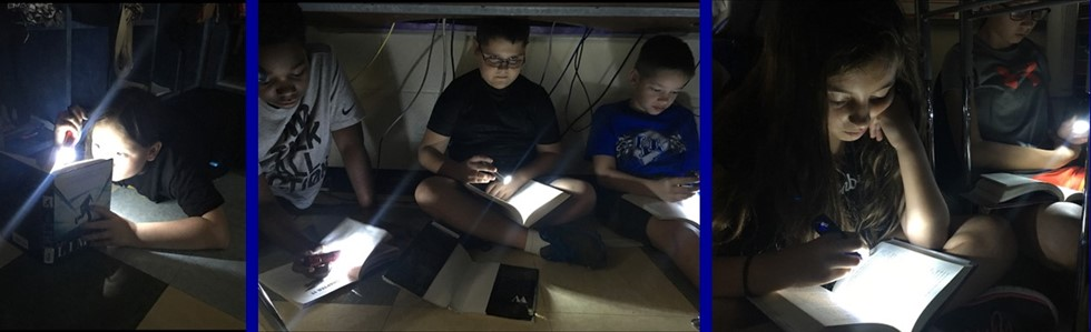 5th graders at GES participated in Flashlight Friday. #brightreaders #leadersshine