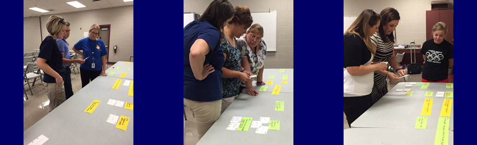 Middle School ELA teachers focused on common assessment questions and congruency to standards during a professional learning opportunity on August 31.