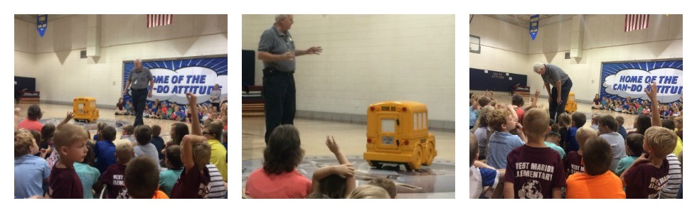 Students at West Marion Elementary learn about school bus safety from Buster the Bus. #8175