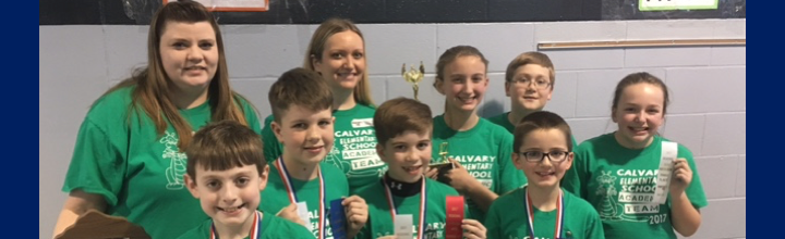 Calvary Elementary Academic Team placed 3rd Runner Up in the Regional Governor's Cup Competition on Saturday, March 3rd.