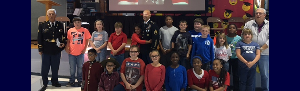 Lebanon Elementary School held a Veteran's Day Program on November 11, 2016.  Pictured are the student leaders and guests who made the program a huge success!
