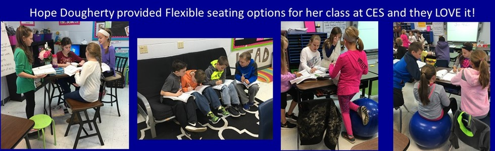 Hope Dougherty adds flexible seating options to her classroom after the new year. Students LOVE it.