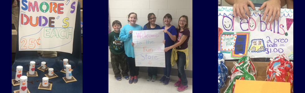 WMES 5th grade students were all smiles on Friday, December 2, 2017, as they opened the Fun Store for business.  Gifted and Talented Consultant Jane Spalding helped students plan, create, market, and sell original products to the student body and staff. Proceeds from the sale will be donated to a charity voted on by the GT students.