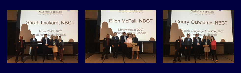 MCPS Teachers Sarah Lockard, Ellen McFall, and Coury Osbourne were recognized for their National Board Certifications by Dr. Stephen Pruitt, Commissioner of Education.