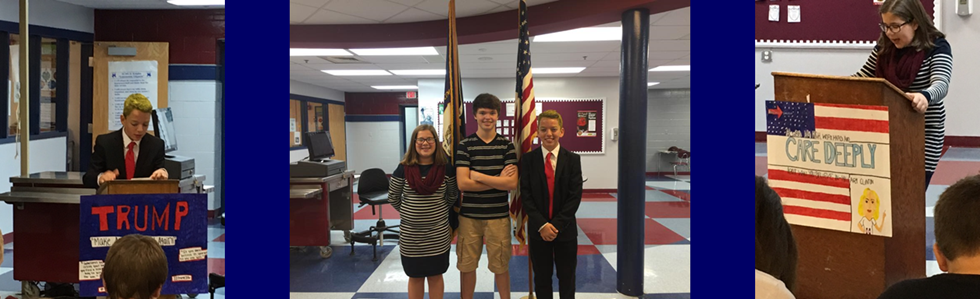 A mock presidential debate was performed by Samuel Thompson as Donald Trump, Brooklyn Richardson as Hillary Clinton, and Seth Caldwell as Moderator Lester Holt at St. Charles Middle School today. All students will also get to participate in a mock election.