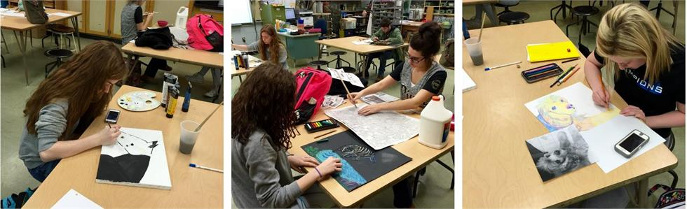 Students in Mrs. Potter's Art 3 class at MCHS work on their independent projects.