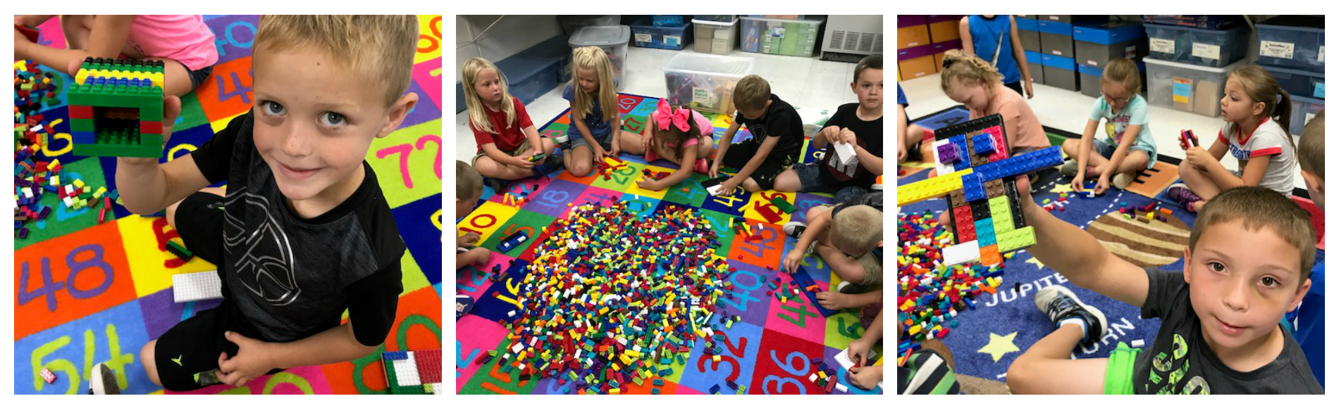 Students in Mrs. Kelly's class at WMES were challenged to build an object with 20 Lego pieces.  Students built garages, robots, sonar fishing apparatus, and bunny rabbits.
