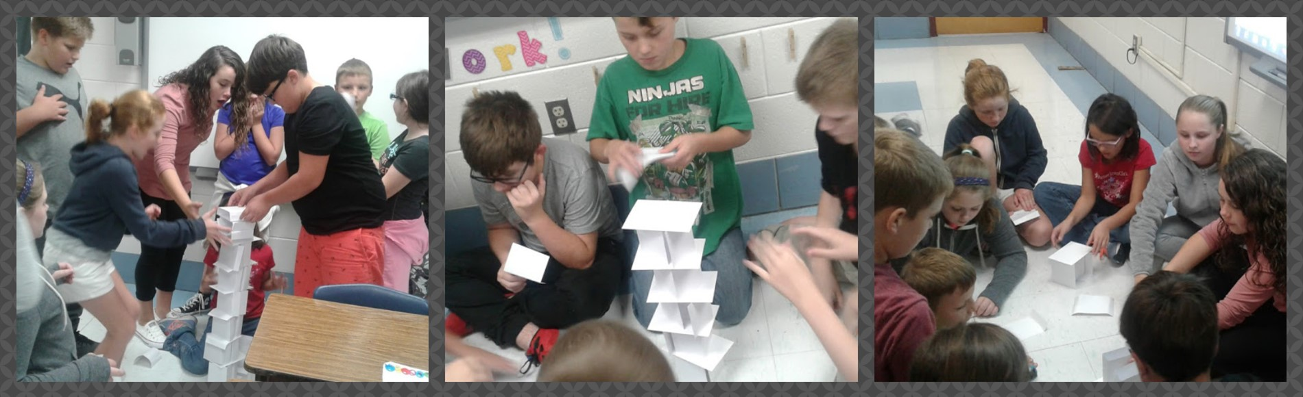 Students in Mrs. Begley's 5th grade class at WMES were split into two groups and given 100 index cards to construct the tallest tower within 30 minutes.
