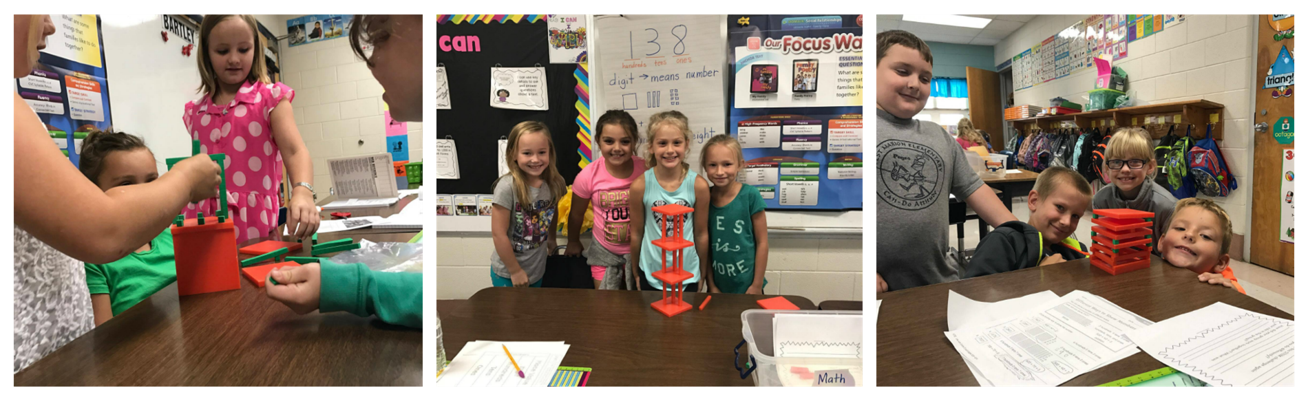 Mrs. Bartley's second grade class at WMES built structures that could stand on its own using base 10 blocks (5-hundreds, 10-tens, 10-ones).