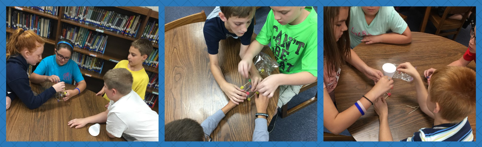 After reading an excerpt from Freedom over Me: Eleven Slaves, Their Lives and Dreams Brought to Life by Ashley Bryan in the library, 5th grade students at WMES built a structure using toothpicks and gum drops that would hold a book for 10 seconds.