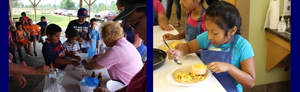 Left: 21st Century Students making ice cream with Mrs. Juanita at Graham Memorial Park.  