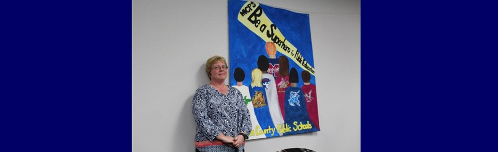 West Marion Elementary art teacher Annette Jones was recognized at the February 9, 2017, board of education meeting.  Her students designed a banner for the district titled Be a Superhero for Public Education which will be on display this spring at the Kentucky School Boards Association annual conference.
