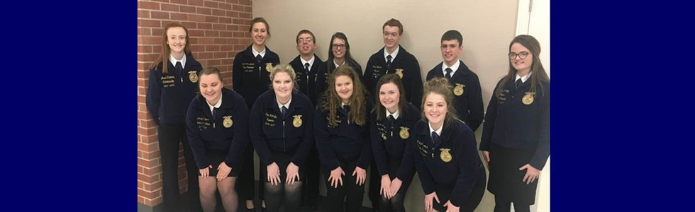 On March 16th, FFA members compete in the Lincoln Trail Region Day competition.  Four students, Gerard Flanagan – Prepared Public Speaking, Carrie Ann Followell – Extemporaneous Public Speaking, Sierra Bickett – Small Animal Impromptu and Lee Ann Jones – FFA Creed advanced to state competition.