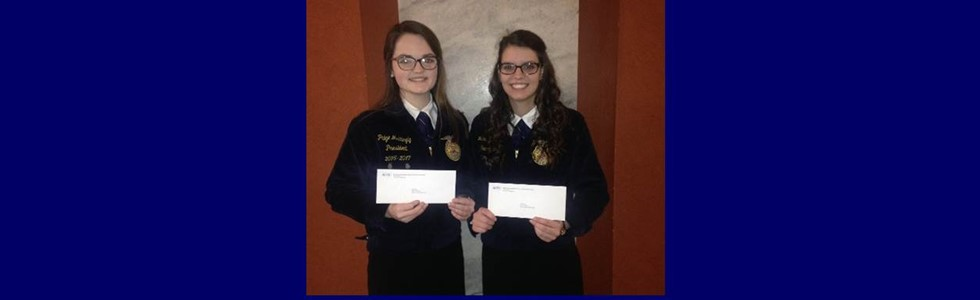 Paige Mattingly and Lexi Thomas were awarded 2nd place in the state in the KACTE Entrepreneurship Contest.  Their entry was with Lexi Thomas's goat lotion and soap business.  They received their award at the CTE Student Leadership Day on February 14th.