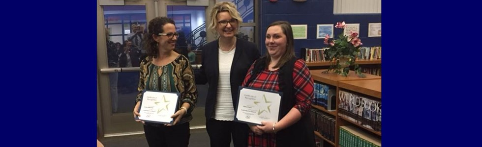 MCPS Instructional Coaches Coury Osbourne and Haley Evans were recognized by Superintendent Taylora Schlosser for their acceptance to Phase II of the district's Leadership Now program at the Marion County County Board of Education Meeting on January 12, 2017, at St. Charles Middle School. Leadership Now provides a comprehensive series of opportunities for individuals interested in educational administration.
