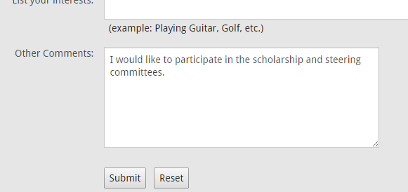 Screenshot of Alumni Registration Comment Box