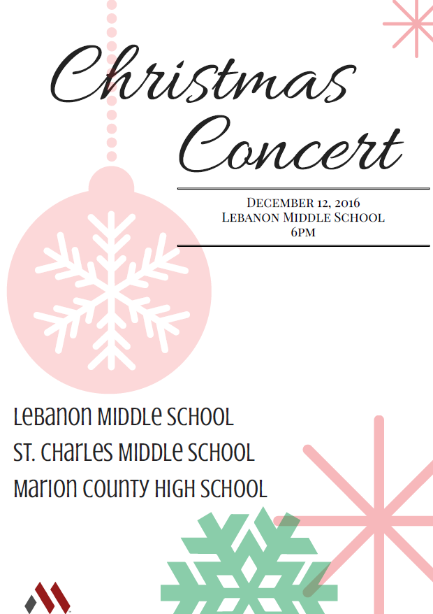 Christmas Concert - December 12 invitation